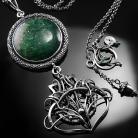 Naszyjniki srebrny,naszyjnik,awenturyn,zielony,wire-wrapping