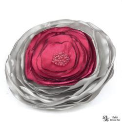 broszka,satyna,kwiatowa,srebrna,róż,fuksja - Broszki - Biżuteria