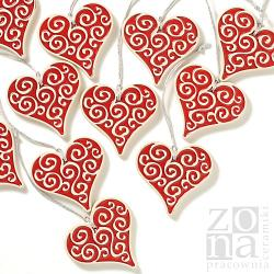 serca,serduszka,zawieszki,czerwone,ceramika - Ceramika i szkło - Wyposażenie wnętrz