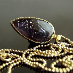 iolit,naszyjnik,pozłacane srebro,srebro,srebro - Naszyjniki - Biżuteria