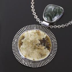 srebrny wisior,wisior ze srebra i porcelany - Wisiory - Biżuteria