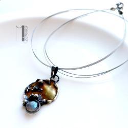naszyjnik srebrny,naszyjnik z labradorytem,miedź - Naszyjniki - Biżuteria