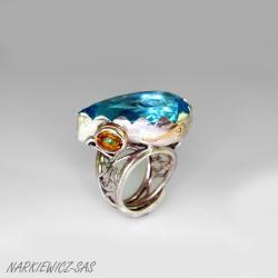 pierścionek z topazem i cytrynem - Pierścionki - Biżuteria