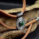 Naszyjniki srebrna mandala,naszyjnik w zieleniach