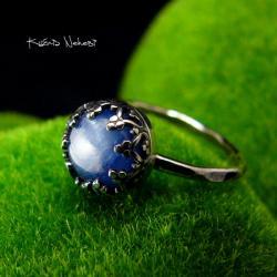 Nehesi,pierścień,srebrny,elfy,delikatny,kyanitem - Pierścionki - Biżuteria