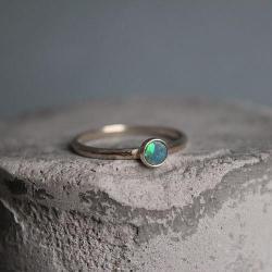 delikatny sybtelny minimalistyczny opal srebro 925 - Pierścionki - Biżuteria