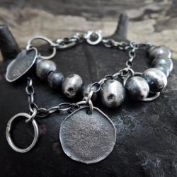 srebrne kulki - bransoletka - Bransoletki - Biżuteria