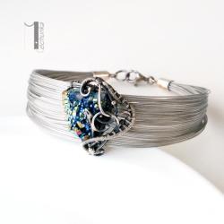 bransoleta z pirytem,bransoleta srebrna - Bransoletki - Biżuteria