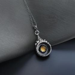srebrny,wisior,dwustronny,misterny,z cytrynem - Naszyjniki - Biżuteria