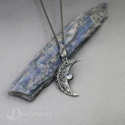 księżyc,noc,liście,amulet,magia,las - Wisiory - Biżuteria
