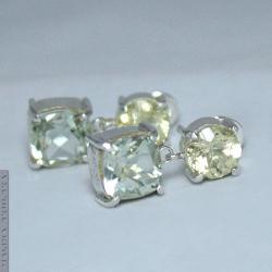 kolczyki,klasyczne,delikatne,cytryn,prasiolit - Kolczyki - Biżuteria