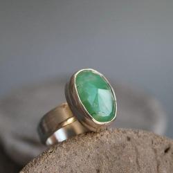 pierścionek chryzopraz srebro 925 zielony - Pierścionki - Biżuteria