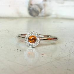 pierścionek,srebro,szafir,diamenty - Pierścionki - Biżuteria