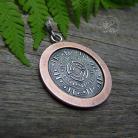 Wisiory aztecki,wisior,miedziany,srebrny,okrągły