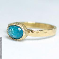 srebrny,młotkowany,delikatny,apatyt,złocony - Pierścionki - Biżuteria