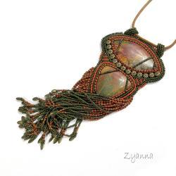naszyjnik,duży,jesienny,stonowany,frędzle - Naszyjniki - Biżuteria