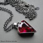 Wisiory srebro,kwarc rubinowy,surowy,amulet