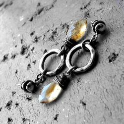 srebro oksydowane,surowe,nowoczesne,z cytrynami - Kolczyki - Biżuteria