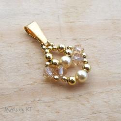 lekki,delikatny,kryształy,Swarovski,pozłacany - Wisiory - Biżuteria