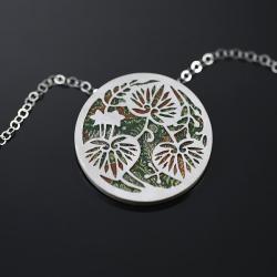srebrny wisiorek,motywy japońskie,wisior liście - Wisiory - Biżuteria