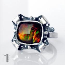 pierścień srebrny,ammolit,metaloplastyka,srebro - Pierścionki - Biżuteria
