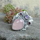 Faelivrin - srebrny pierścień z kwarcem różowym
