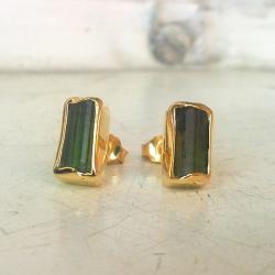 złoto,turmalin,kolczyki - Kolczyki - Biżuteria