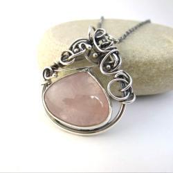 naszyjnik wire wrapping,różowy kwarc - Naszyjniki - Biżuteria