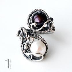 pierścionek srebrny,pierścionek z perłą - Pierścionki - Biżuteria