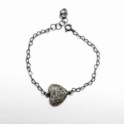 srebro,bransoeltka,serce - Bransoletki - Biżuteria
