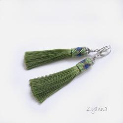 kolczyki,chwosty,zieleń,lato - Kolczyki - Biżuteria