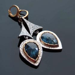 kolczyki,kyanit,srebro,srebro złocone - Kolczyki - Biżuteria