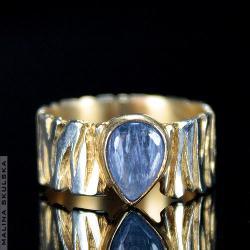 kianit,pierścionek,zebra,srebrny,złocony,wzór - Pierścionki - Biżuteria