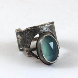 srebrny pierścionek z chalcedonem - Pierścionki - Biżuteria