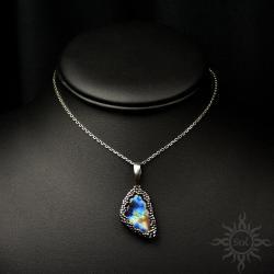 multikolor,labradoryt,elegancki,delikatny,srebrny - Wisiory - Biżuteria