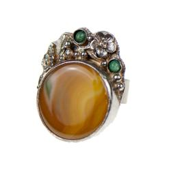 srebrny pierścionek z agatem,artseko,z agatem - Pierścionki - Biżuteria
