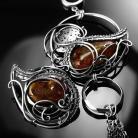 Kolczyki srebrne,kolczyki,asymetryczne,bursztyn,miodowe