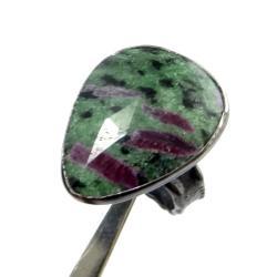zoisyt,srebrny,srebro,blask,zieleń,szarości,rubin - Pierścionki - Biżuteria