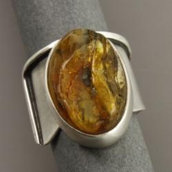 pierścionek z bursztynem - Pierścionki - Biżuteria