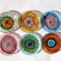 talerzyki deserowe,komplet,szkło fusing - Ceramika i szkło - Wyposażenie wnętrz