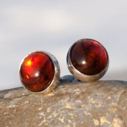 kolczyki,srebrne,sztyfty,drobne,amber,bursztyn - Kolczyki - Biżuteria