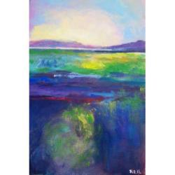 świt,pejzaż,niebieski,żółty,fiolet,szary - Obrazy - Wyposażenie wnętrz