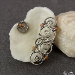 nausznica,sztyft,karneol,pomarańczowy,na ucho - Kolczyki - Biżuteria