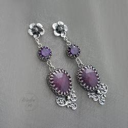 srebrne,kolczyki,długie,z kwiatami - Kolczyki - Biżuteria