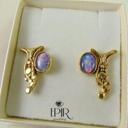Kolczyki pozłacane z opalami - Kolczyki - Biżuteria