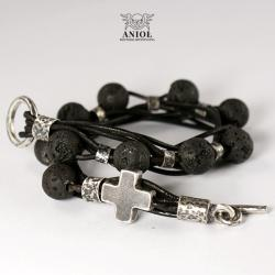 biżuteria męska,różaniec,bransoleta skórzana - Dla mężczyzn - Biżuteria