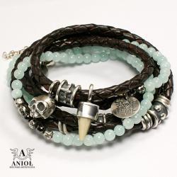 bransoleta skórzana,komplet bransolet damskich - Bransoletki - Biżuteria