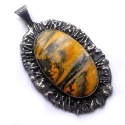 srebrny,żółty,srebro,beżowy,kamień,jaspis,retro - Wisiory - Biżuteria