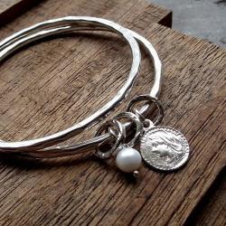 perła,okrągłe,grzechoczące,srebrne,grube - Bransoletki - Biżuteria