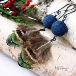 srebrne kolczyki z pawimi piórami,soft things - Kolczyki - Biżuteria